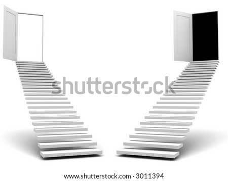 stairways leads to doors (image can be used for printing or WEB) - stock photo