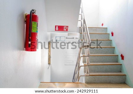 stairwell fire escape in a modern building. - stock photo