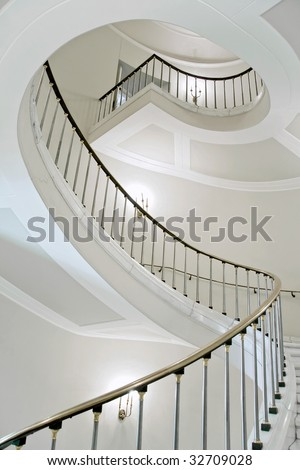 Stairwell in the Polish palace. Royal castle in Warsaw. - stock photo