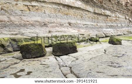 Staithes Rocks. - stock photo