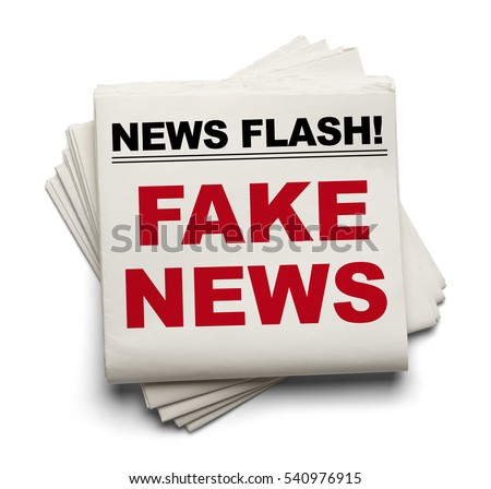 Stake of Newspapers That Say Fake News Isolated on White Background.