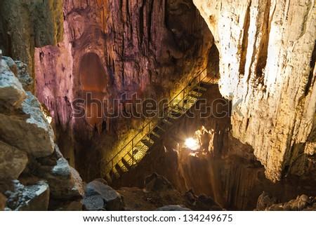 Stalactite stalagmite cavern. Stalactite cave in Crimea. Ukraine - stock photo