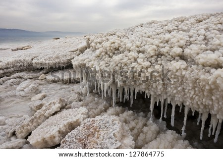 Stalagmites made of salt, rocks and water at the lowest point on earth, Dead Sea - stock photo