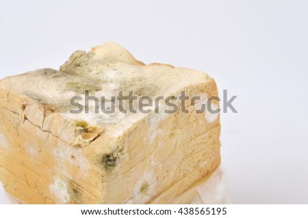 stale white bread on white background - stock photo