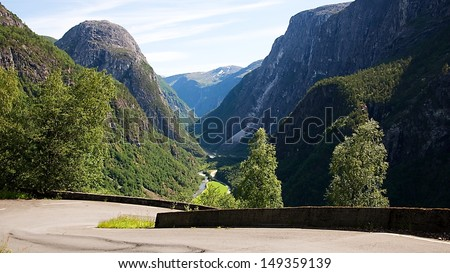 Stalheimskleiva - old road in mountains near city Voss in Norway - stock photo