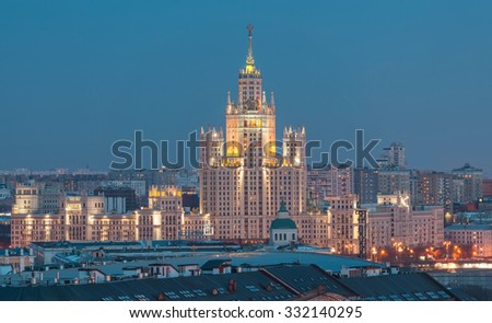 Stalin skyscrapers in the evening