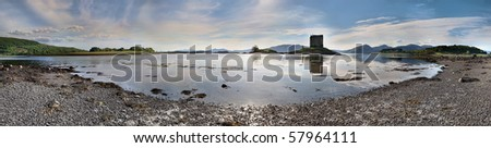Stalker Castle in Highlands, Scotland, panoramic view - stock photo
