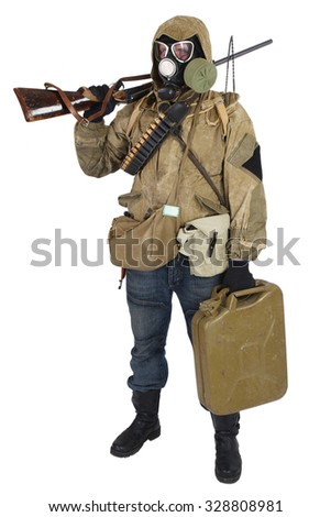 Stalker in gas mask with weapon isolated on white - stock photo
