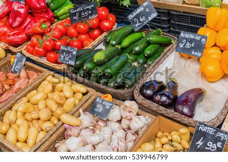 stall display of a farmers market in the Provence, France