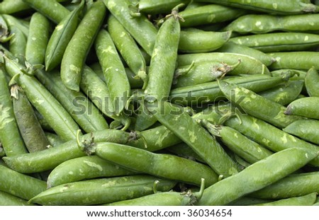 stall of peas at the market, horizontal picture