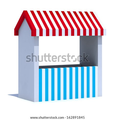 stall with striped colors on white background, 3d illustration - stock photo