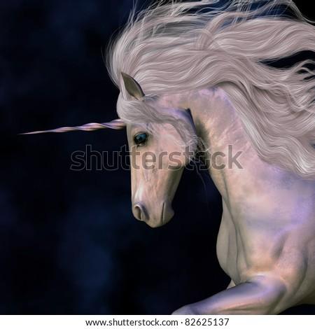 Stallion - A white buck unicorn's horn has a beautiful pink glow. - stock photo
