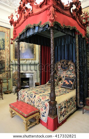 STAMFORD, ENGLAND - JUNE 14, 2014: Medieval interior of Burghley House on June 14, 2014 in Stamford, England. It is a landmark medieval castle in Central England.