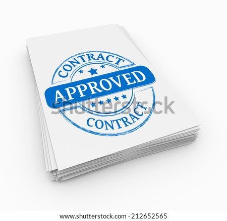 Stamp approved with stack documents - stock photo