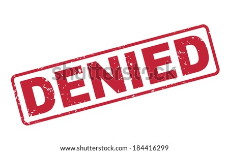 stamp denied with red text over white background - stock photo