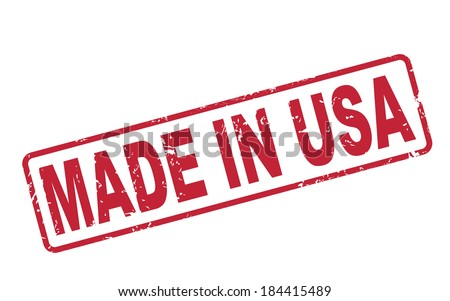 stamp made in USA with red text over white background - stock photo