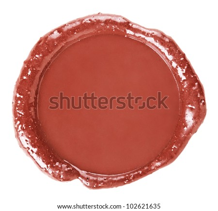 Stamp of sealing-wax, isolated on white background - stock photo