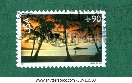 stamp on a letter from America, showing the each of Guam - stock photo