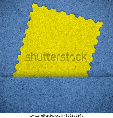 Stamp on blue paper texture  background - stock photo