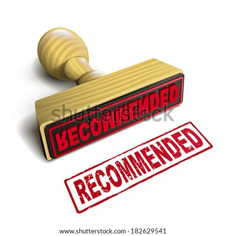 stamp recommended with red text over white background - stock photo