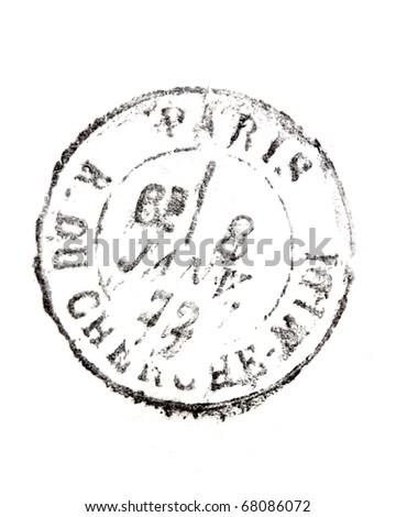 stamp Rue du Cherche Midi Paris isolated on white - stock photo
