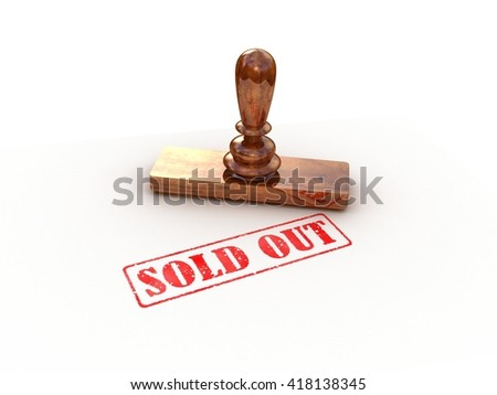 Stamp sold on white background, 3D rendering - stock photo