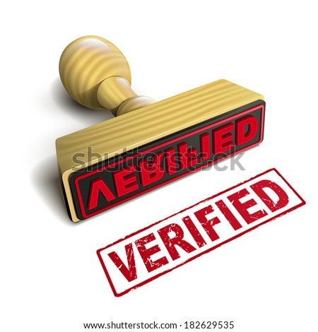 stamp verified with red text over white background - stock photo