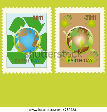 Stamp with planet symbol on Earth Day - stock photo
