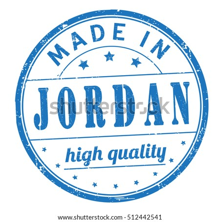 "stamp with text ""made in Jordan"" isolated on white background. Bitmap"