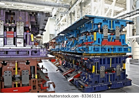 stamping lines in a car plant - stock photo