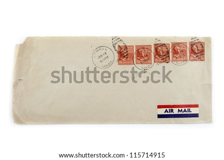 Stamps and air mail label on old envelope. 1946 - stock photo