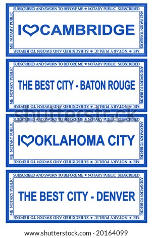 Stamps for CAMBRIDGE, BATON ROUGE, OKLAHOMA, DENVER