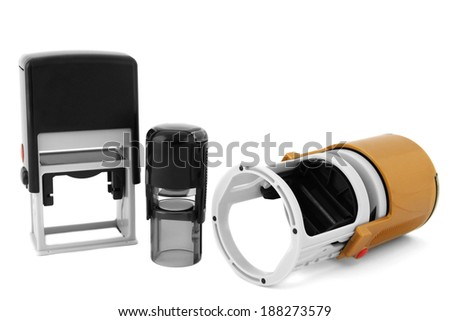 Stamps isolated on white - stock photo