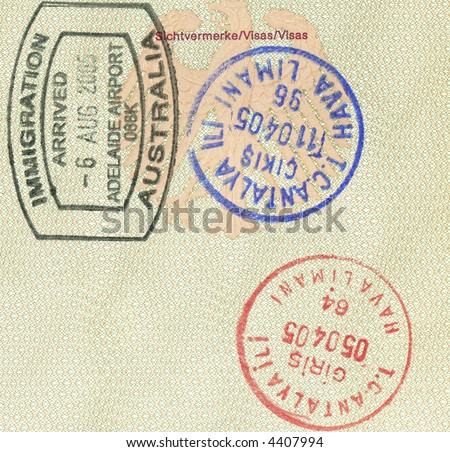 stamps of australia and turkey in german passport - stock photo
