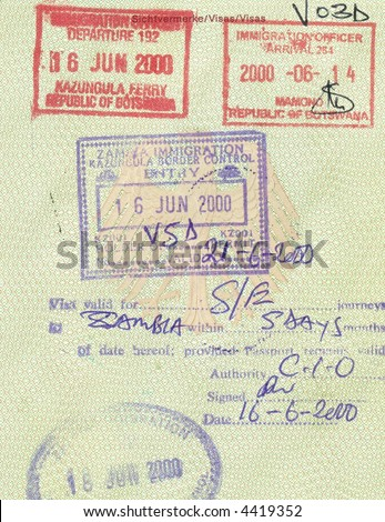 stamps of botswana and zambia in german passport - stock photo