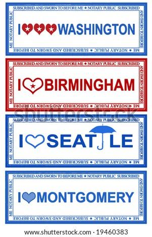 Stamps. WASHINGTON, BIRMINGHAM, SEATTLE, MONTGOMERY. - stock photo