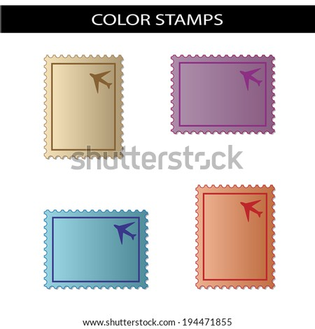 stamps with airplane - stock photo