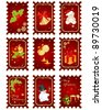 Stamps with Christmas elements isolated on a white background. - stock photo