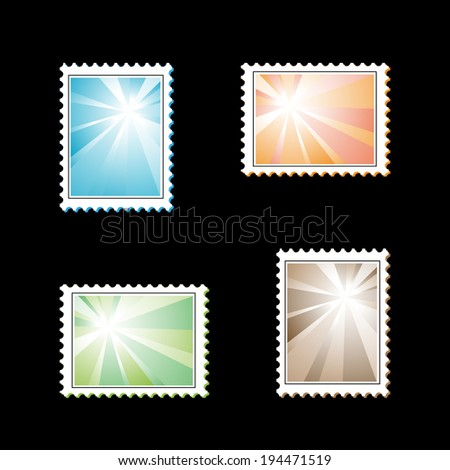 stamps with light rays - stock photo