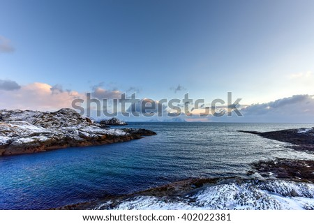 Stamsund in the Lofoten Islands, Norway in the winter.