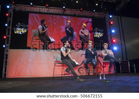 STAN LEES LOS ANGELES COMIC CON: October 29, 2016, Los Angeles, California.  Actors Richard Speight Jr and Rob Benedict of the TV show Supernatural discuss the webseries Kings of Con with Leo Camacho.