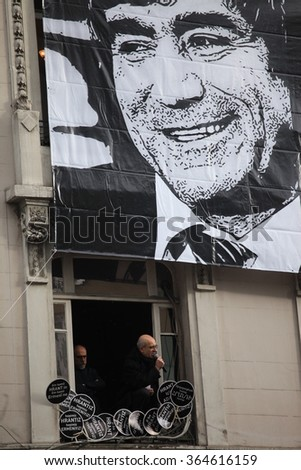 STANBUL - JANUARY 19: Mourners gather to commemorate Hrant Dink on the anniversary of his death in front of his Newspaper Agos, on 19 January 2016 in Istanbul,Turkey.