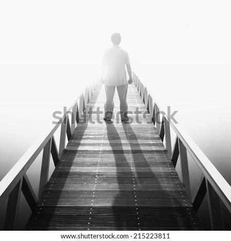 Stand alone at the jetty in Putrajaya, Malaysia ( black and white ) - stock photo