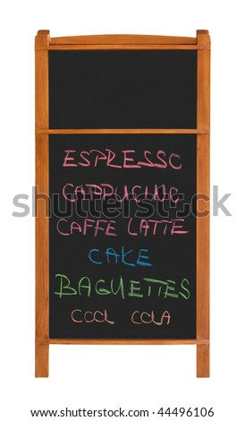 Stand chalkboard with two sections and cafe menu isolated on white background - stock photo