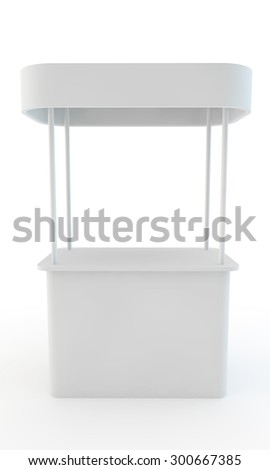 stand for display of advertizing production with a roof front view - stock photo