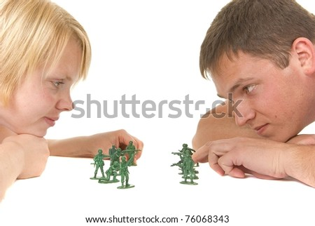 Stand off - relationship at odds - stock photo