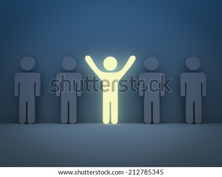 Stand out from the crowd and different concept , Light man standing with arms wide open with other people - stock photo