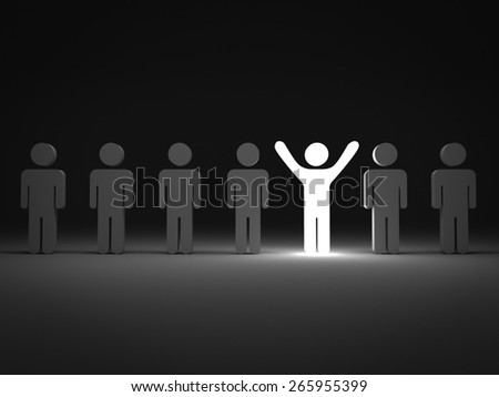 Stand out from the crowd and different concept , One light man standing with arms wide open with other people - stock photo