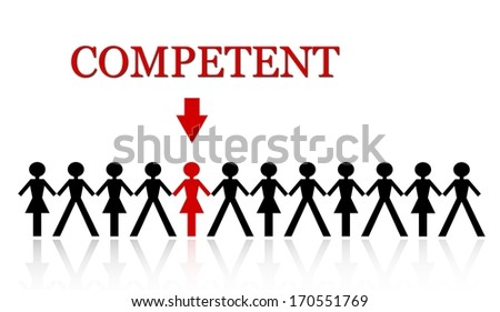 stand out from the crowd, be competent - stock photo