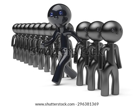 Stand out from the crowd different character people man black think differ unique person otherwise run to new opportunities concept individuality referendum vote icon 3d render isolated - stock photo